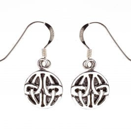 Sterling Silver Celtic Round Dangle Earrings