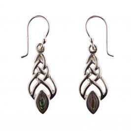 Sterling Silver Celtic Abalone Marquise Dangle Earrings