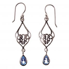 Sterling Silver Celtic Genuine Blue Topaz Pear Dia Knot Dangle Earrings