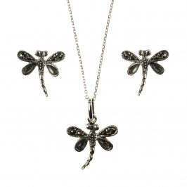 Sterling Silver Marcasite Abalone Dragonfly  Stud Earring & Necklace Set