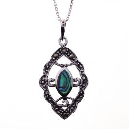 Sterling Silver Marcasite Abalone Shell Marquise Necklace