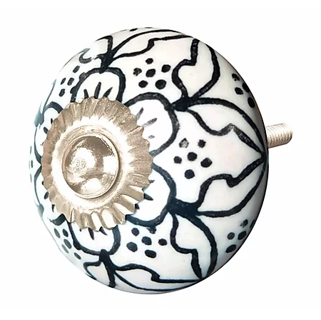 Ceramic Knob - Black / White Lattice Outline