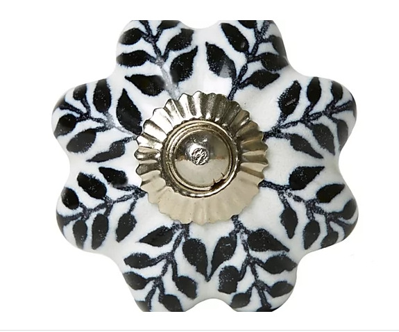 Ceramic Knob - Black / White Leaves