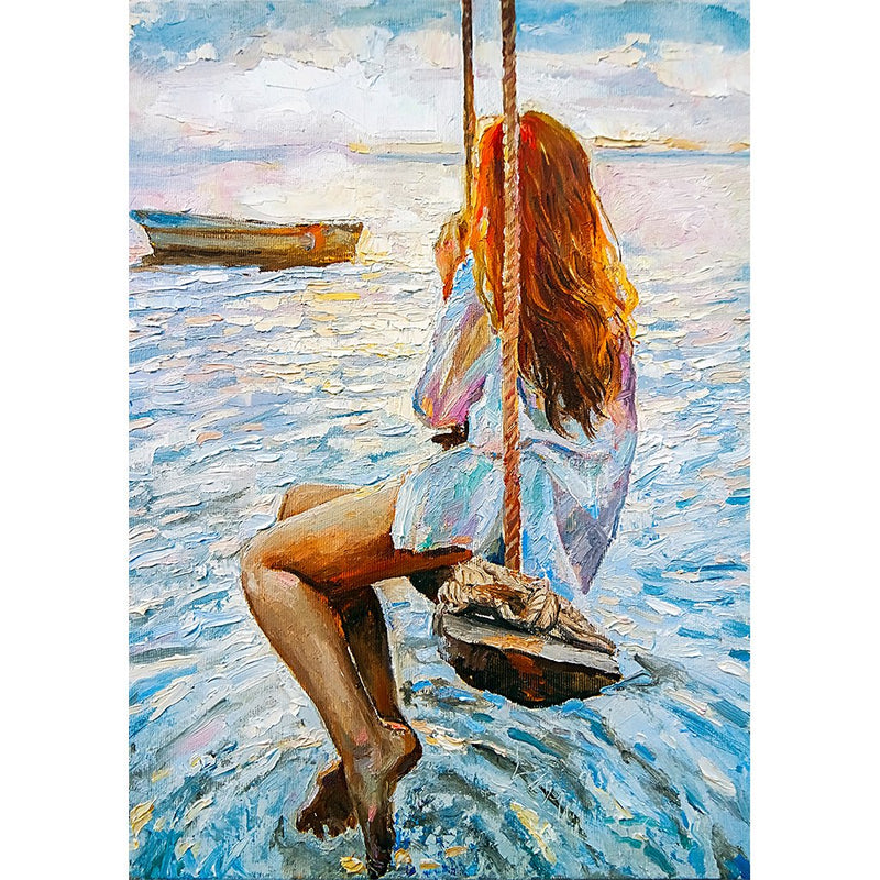 Girl on a Swing - Mint Decoupage Sheet