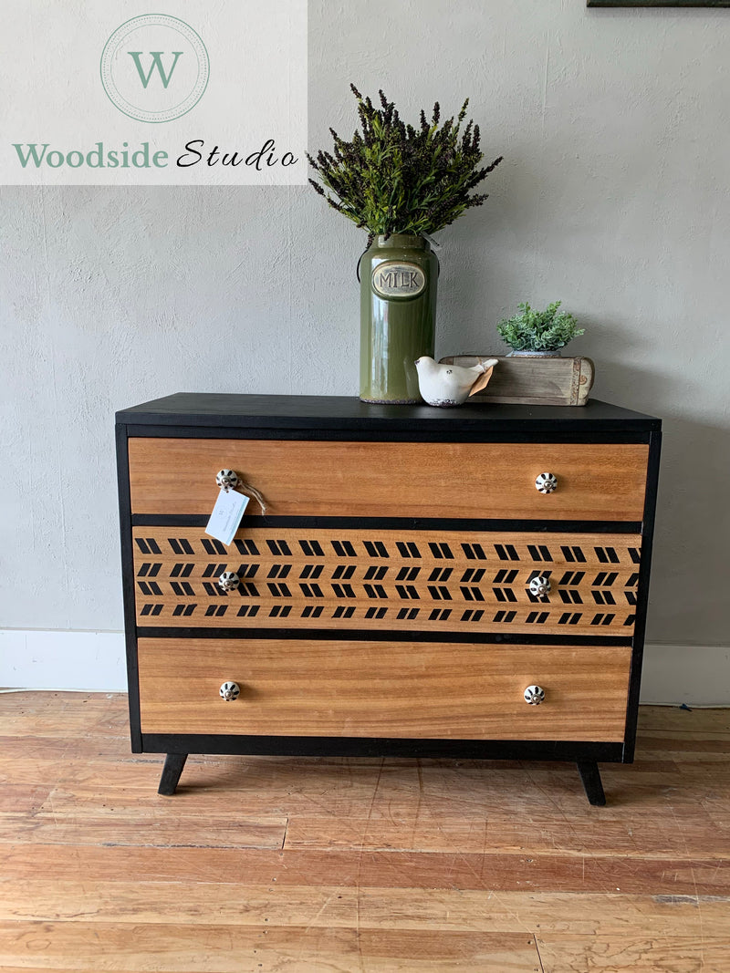 Stenciled Mahogany Draws