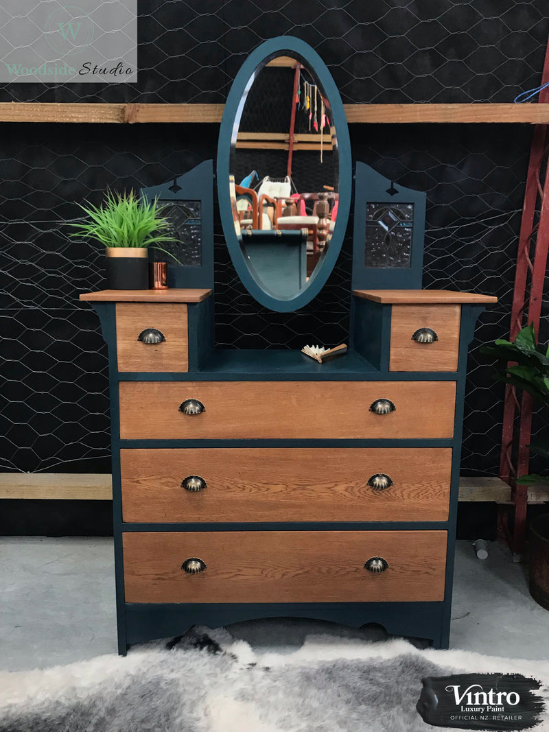 Oak Lead Light Dresser