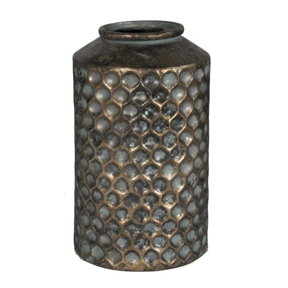 Honeycomb Vase Patina & Pewter