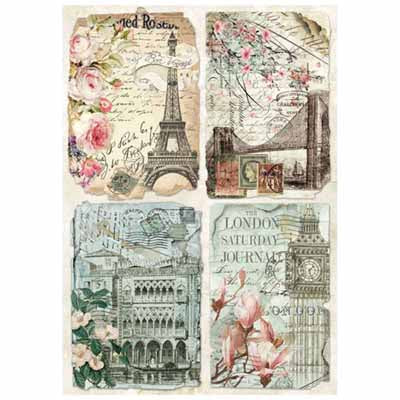 Rice Paper A4 - Vintage Postcards