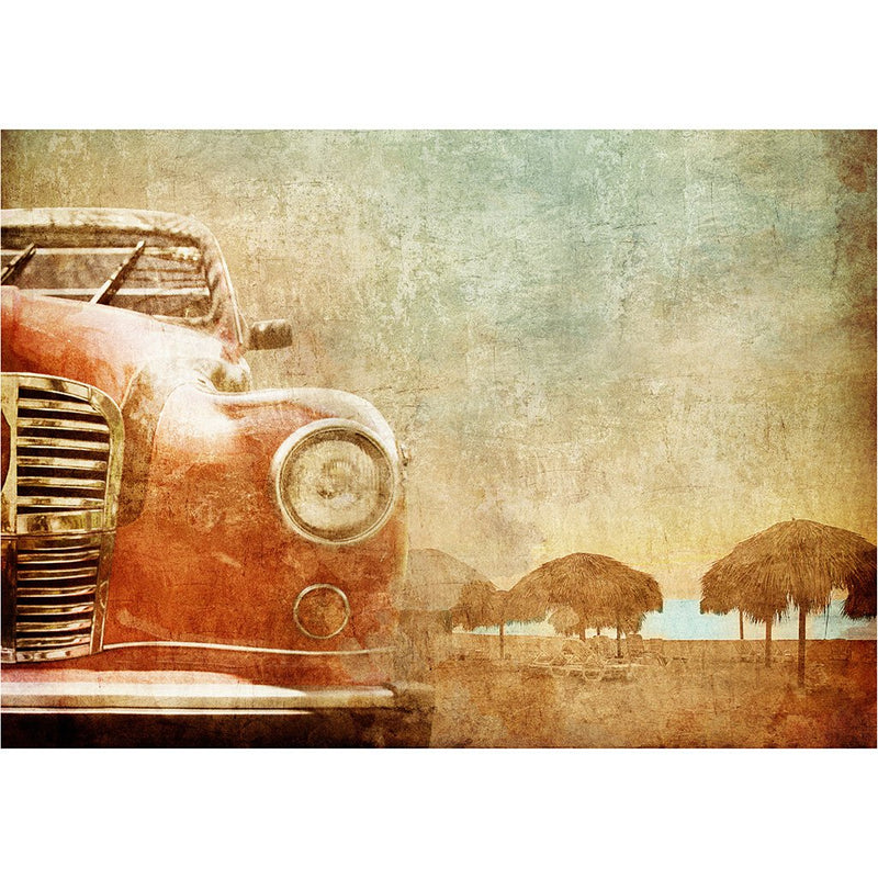 Old Red Car - Mint Decoupage Paper