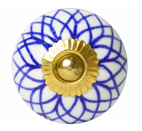 Ceramic Knob - Blue / White Geometry
