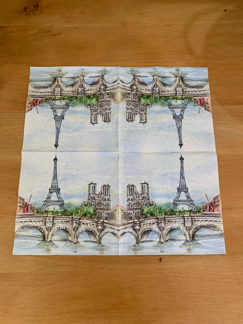 Eifel Tower and Bridge Napkin for Decoupage
