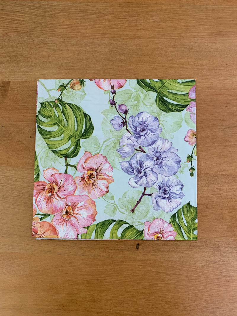 Purple Flower with Monstera Leaf Napkin for Decoupage