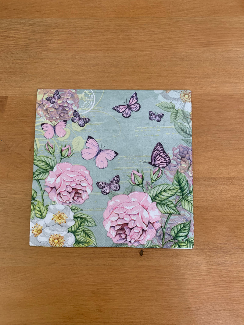 Pink Roses with Butterflies Napkin for Decoupage