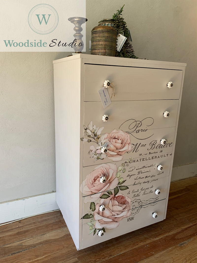 Pine Tallboy with Chatellerault Transfer