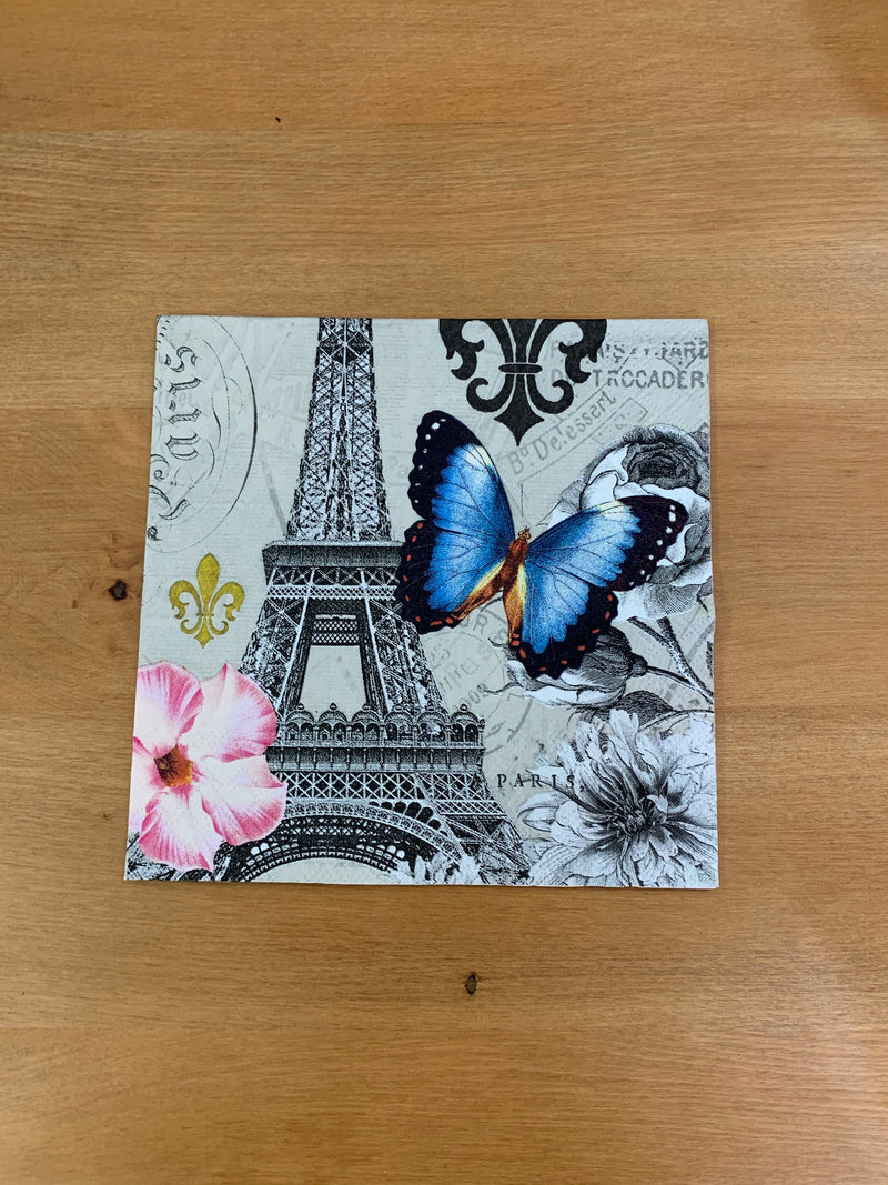 Eiffel Tower and Blue Butterfly Napkin for Decoupage