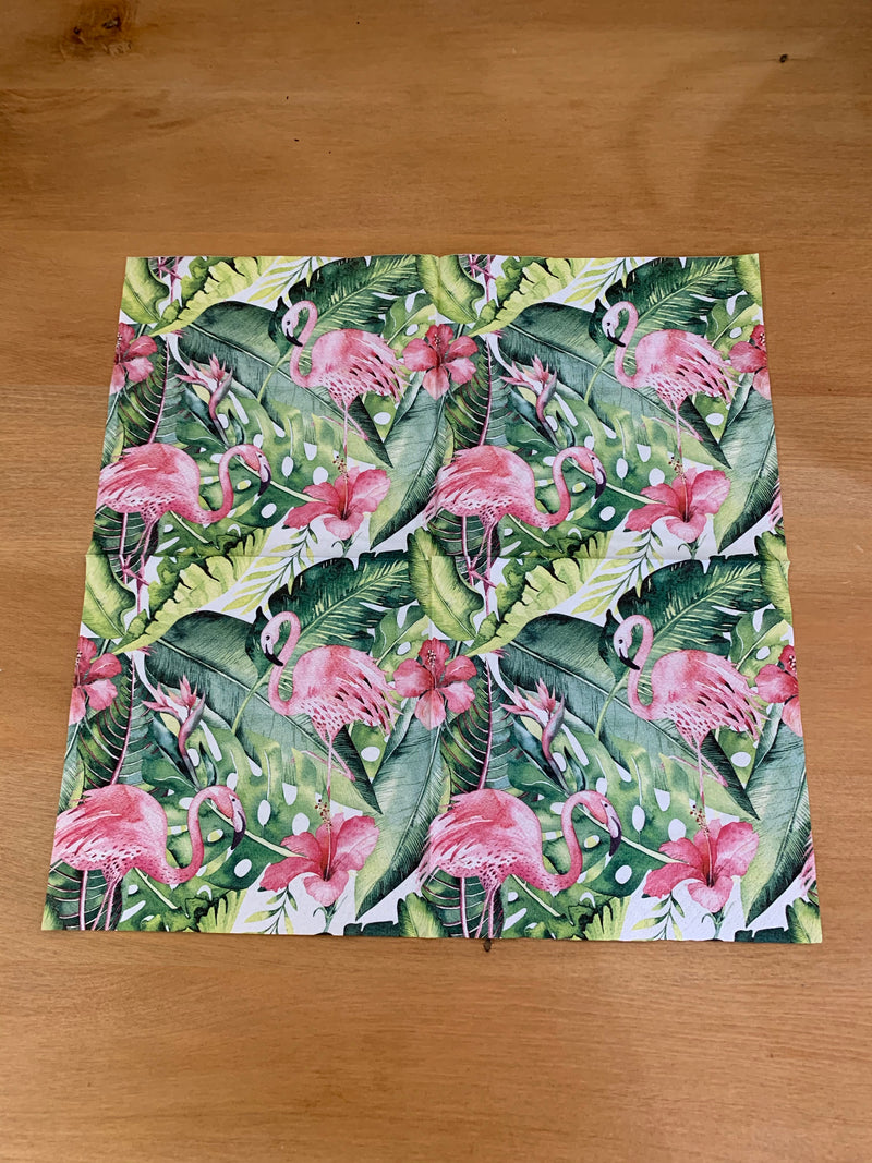 Pink Flamingo with Greenery Napkin for Decoupage