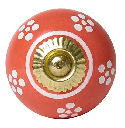Ceramic Knob - Red / White Dots