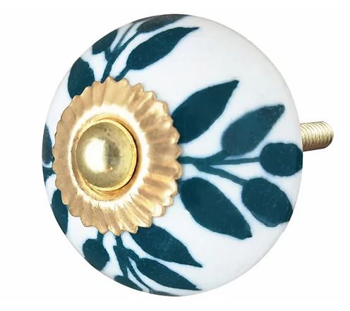 Ceramic Knob -Teal / White Leaves