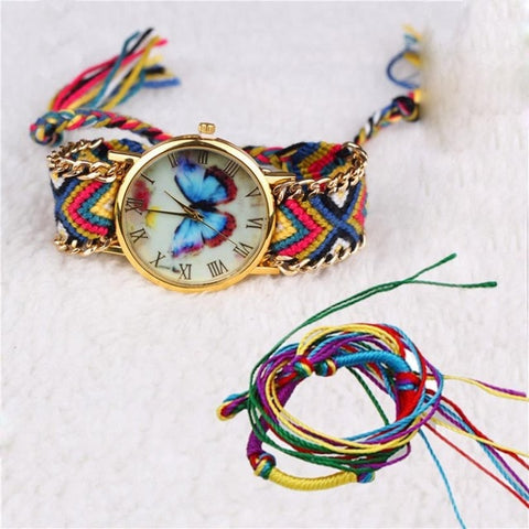 Handmade Braided Butterfly Bracelet with Dial Quartz Watch