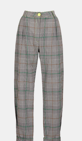 OFF-WHITE PLAID HIGH-RISE PANTS