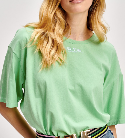 MINT GREEN COTTON T-SHIRT WITH EMBROIDERED LOGO