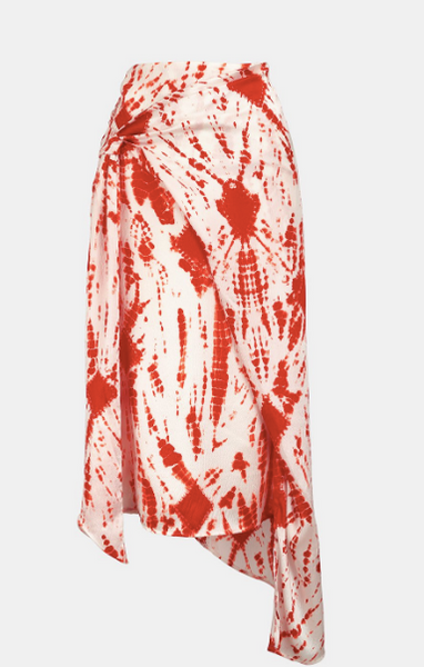 OFF-WHITE AND RED TIE-DYED SILK MIDI SKIRT