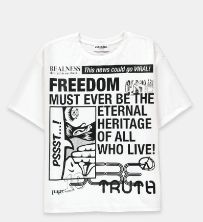 WHITE 'NEWS'-PRINT COTTON T-SHIRT