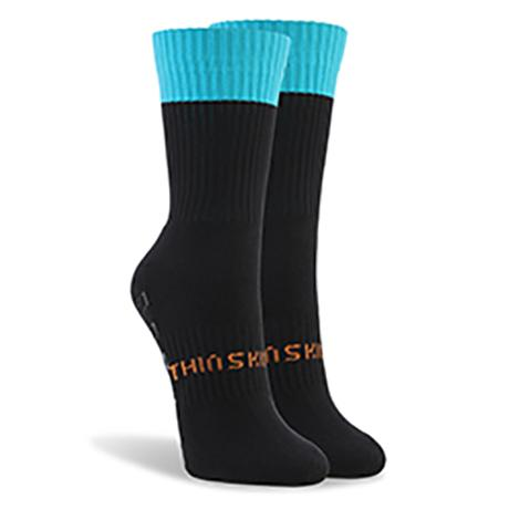Thinskins Short Football Socks - Black/Teal Top