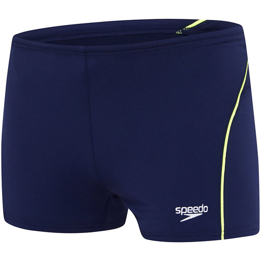Speedo Mens Endurance+ Logo Aquashort - Speedo Navy/Safety Yellow_12G32/7483