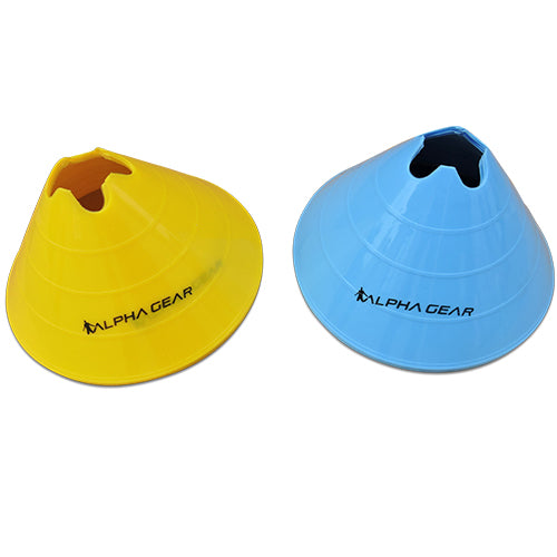 Alpha Gear Jumbo Agility/Marker Cones (8PK) - Blue and Yellow_8PKJUMBOBLUYEL