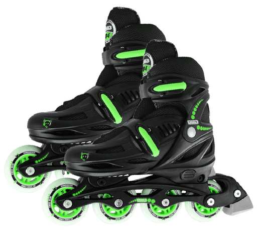 Crazy Skates 148 Adjustable Large Inline Skates - Black/Green