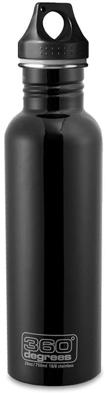 360 Degrees 0.75L Black Stainless Steel Bottle