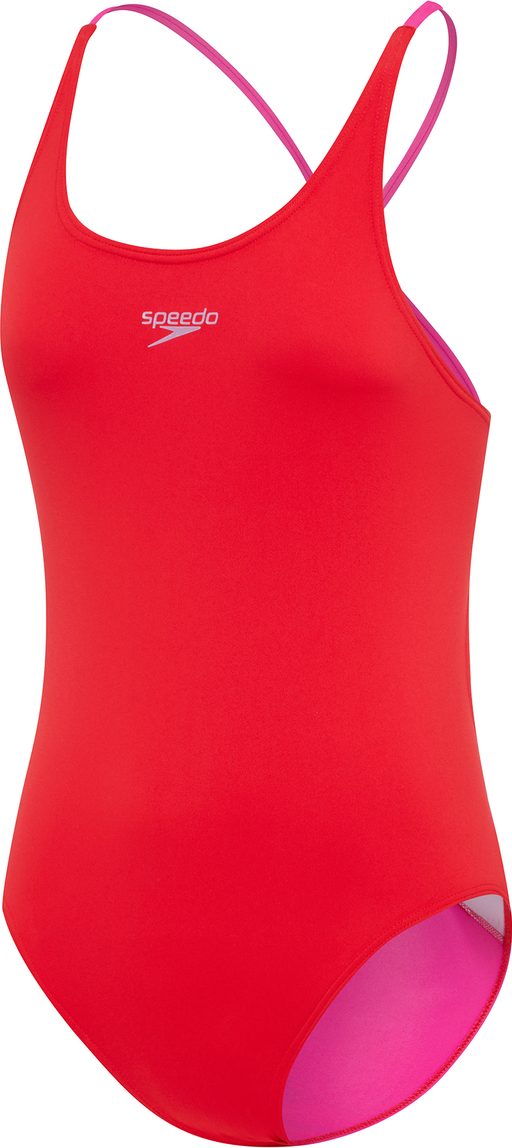 Speedo Girls Tie One Piece - USA Red_4252C 7263