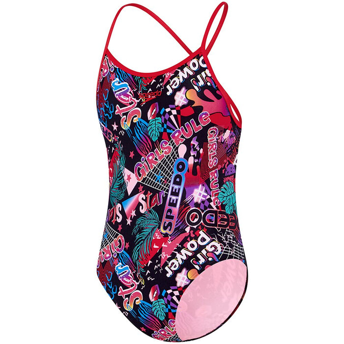 4260B/7623_Speedo Girls Open X Back One Piece - Girl Power