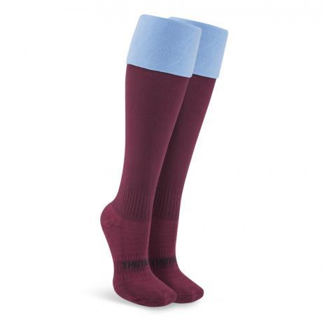 Thinskins Fine Knit Football Socks - Maroon/SKY Top
