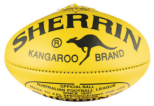 Sherrin KB Leather Veg Tan Size 5 AFL Ball - Yellow_4112/VEG