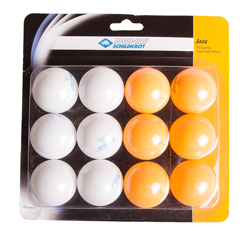 Donic 12 Pack Jade 40mm Table Tennis Balls - White/Orange