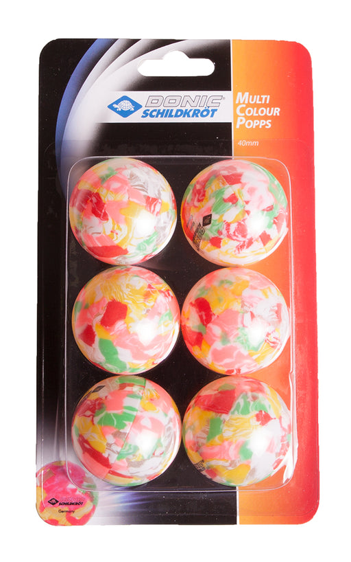 Donic Multicolour Popps 6 Pack Table Tennis Balls