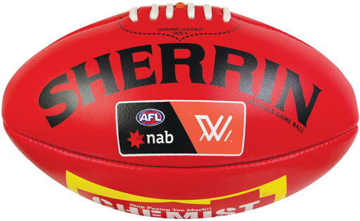 Sherrin Leather Replica Womens Size 5 AFL Ball-Red