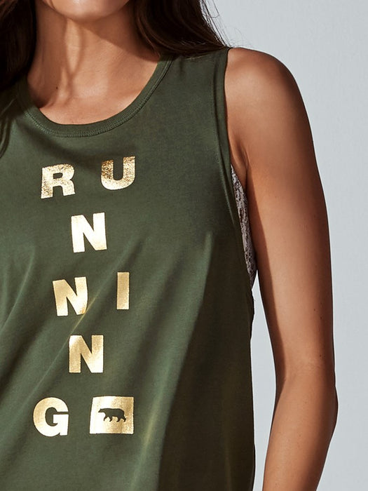 Running Bare Womens Guns Out Muscle Tank With Hem Splits - Hunter_9S15587Y