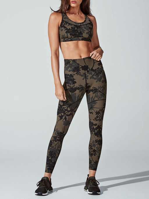 Running Bare Womens Stop Traffic Crop - Olive Green_9S15440R