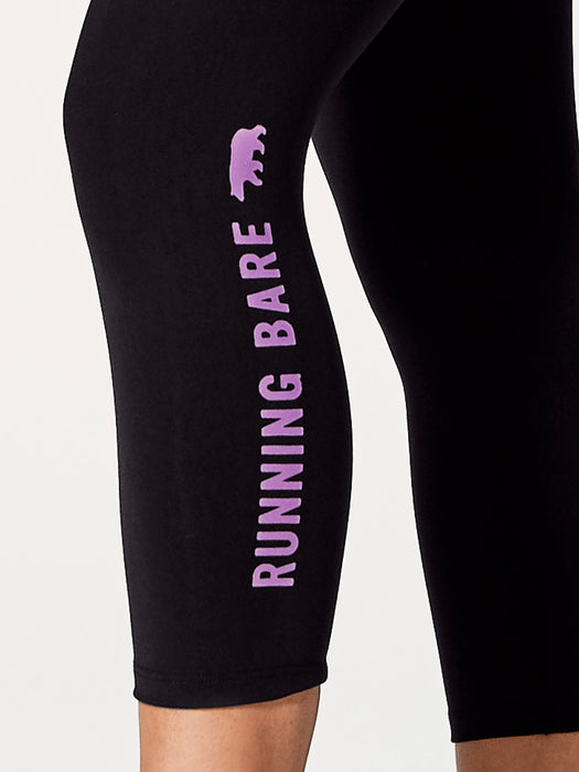 Running Bare Womens Ab Waisted What Wots 7/8 Tight With Pocket - Black/Chuckle Jam Jam_9W15657B