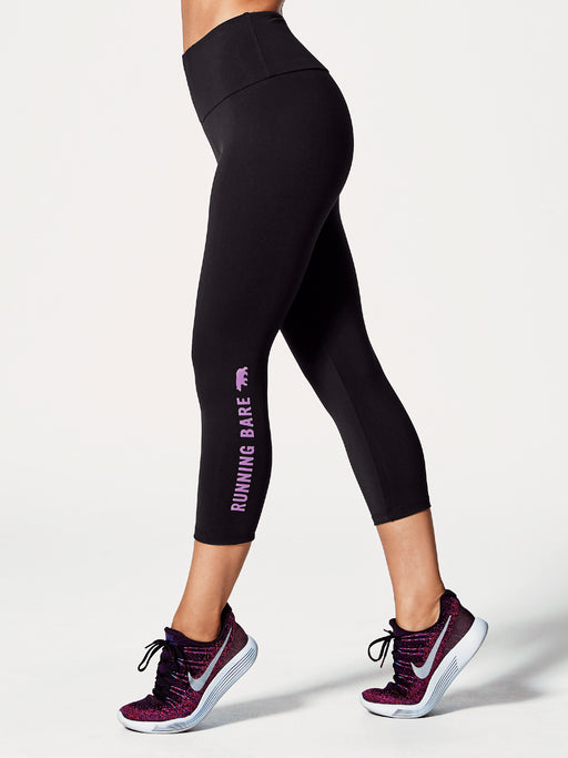 Running Bare Womens Ab Waisted What Wots 7/8 Tight With Pocket - Black/Chuckle Jam Jam