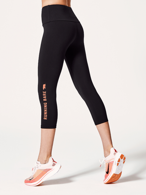 Running Bare Womens Ab Waisted What Wots 7/8 Tight With Pocket - Black/Peach Perfect