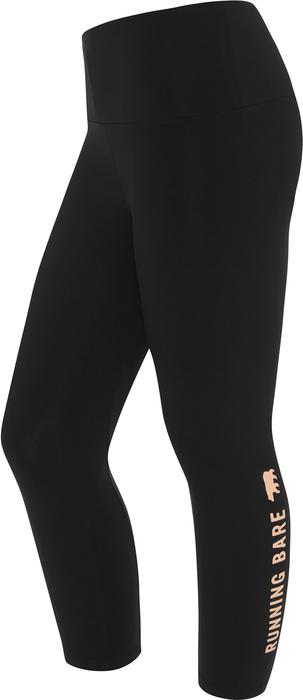 Running Bare Womens Ab Waisted What Wots 7/8 Tight With Pocket - Black/Peach Perfect_9W15657P