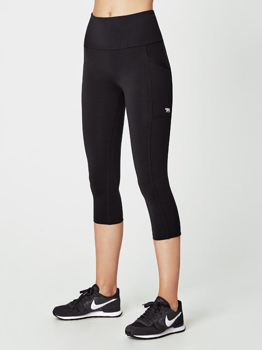 Running Bare Ab Waisted Power Moves 3/4 Womens Tight - Black_C15815E