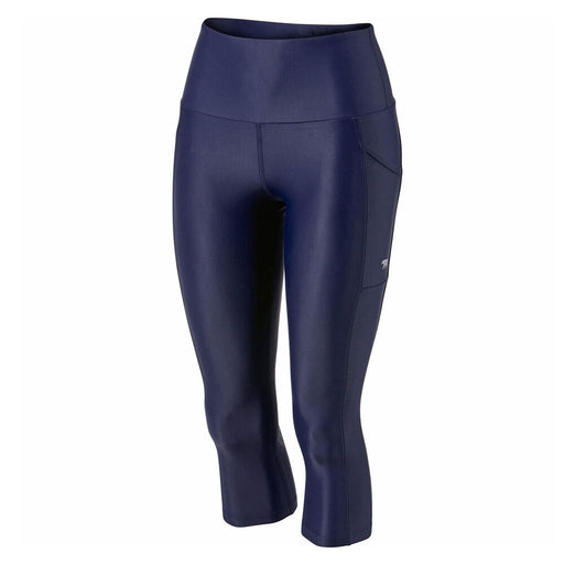 Running Bare Womens Ab Waisted Power Moves 3/4 Tight - Crew/Navy