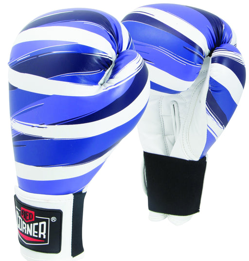 Red Corner Womens Spar Boxing Glove 12oz-Stripes Blue_S002159