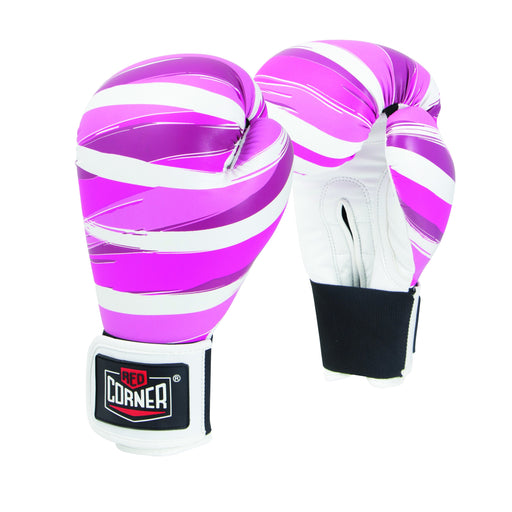 Red Corner Womens Spar Boxing Glove 12OZ - Stripes Pink_S002207
