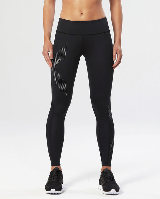 2XU Mid-Rise Womens Compression Tight - Black/Dotted Reflective Logo_WA2864b-BLK/DRF